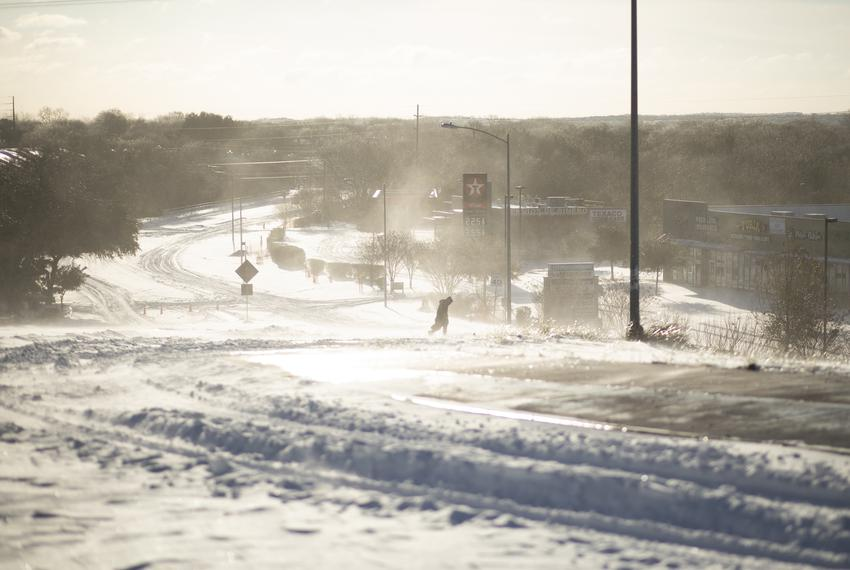 An eastbound view of East Stassney Lane in South Austin on Feb. 15, 2021. A major winter storm affected the entire state.