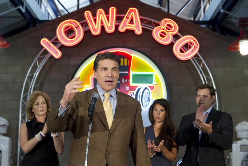 "Presidential candidate Rick Perry makes a speech at the Iowa 80 ""World's Largest Truck Stop"" at Walcott, Iowa on August 16, …"