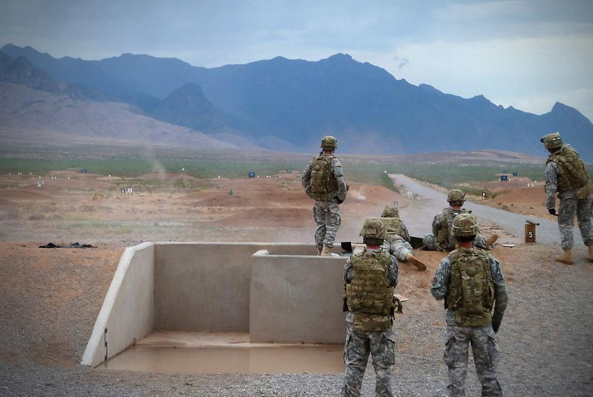Soldiers on a shooting range at Fort Bliss in El Paso, TX.