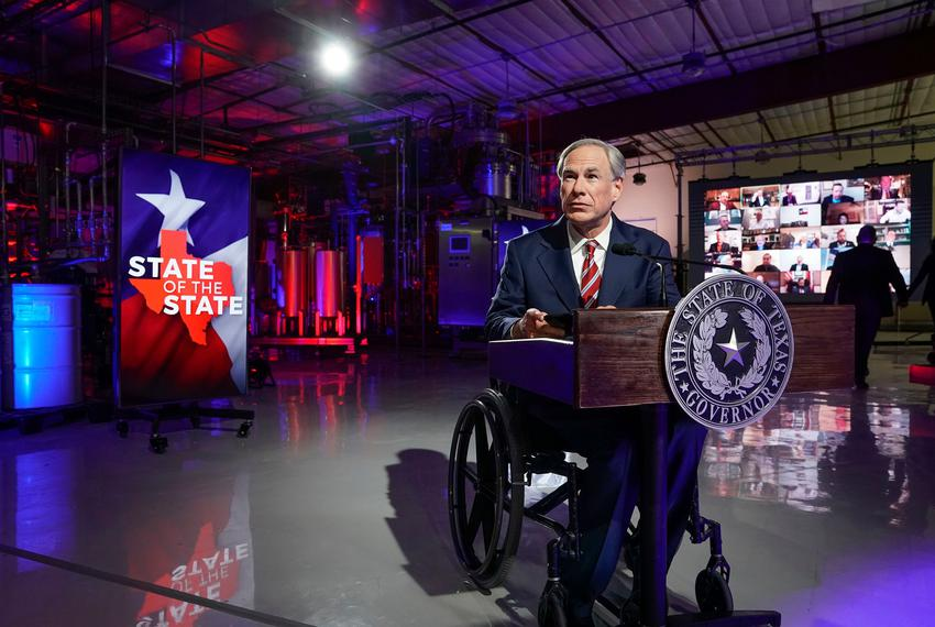 Gov. Greg Abbott prepares to deliver his State of the State speech at Visionary Fiber Technologies outside of Lockhart on Fe…