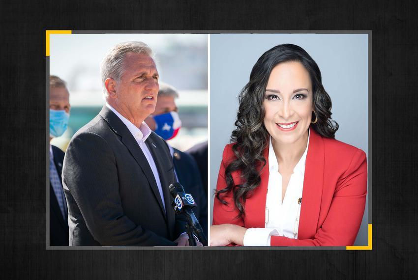 U.S. Rep. Kevin McCarthy, R-California, and TX-15 nominee Monica De La Cruz Hernandez.