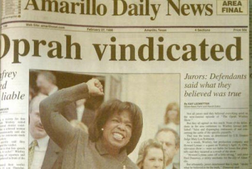 "Media mogul Oprah Winfrey on the front page of the Amarillo Daily News on Feb. 27, 1998, the day after a jury voted unanimously in her favor in a ""veggie libel"" lawsuit filed against her by the beef industry."