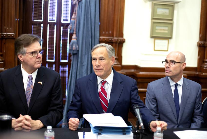 From left: Lt. Gov. Dan Patrick, Gov. Greg Abbott and House Speaker Dennis Bonnen at a meeting of the Texas Safety Commiss...
