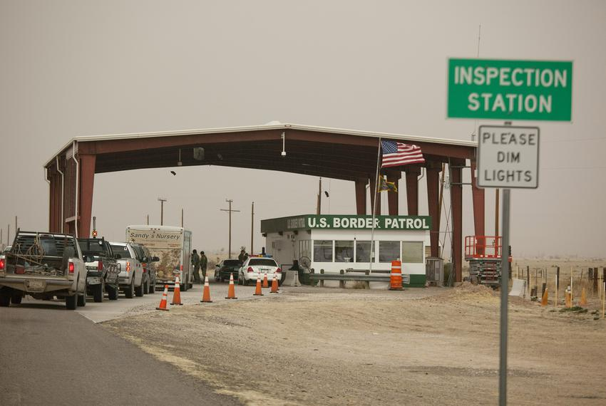 The isolated United State Border Patrol inspection station on Highway 87 between the border town of Presidio, TX and Marfa, …