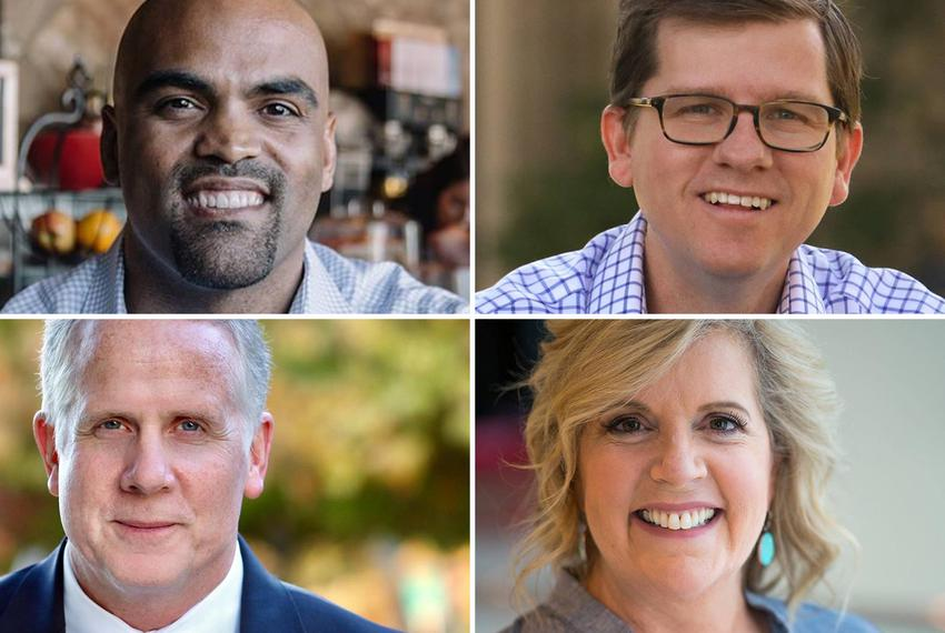 Clockwise from top left: Colin Allred, Ed Meier, Lillian Salerno and Brett Shipp, four of seven Democratic candidates for Co…