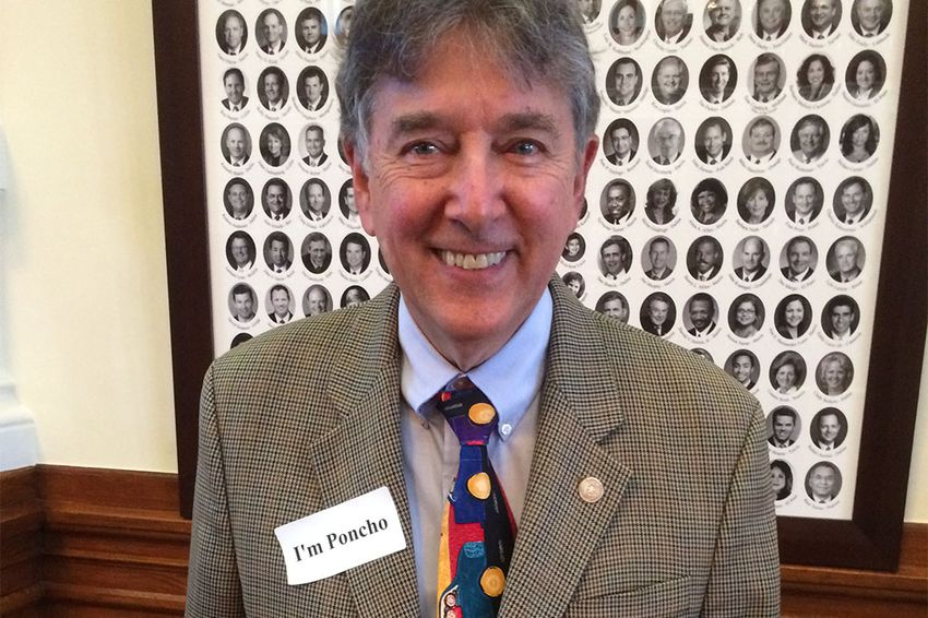 """State Rep. Elliott Naishtat, D-Austin, wearing an """"I'm Poncho"""" sticker on Jan. 28, 2015 after fellow Rep. Alfonso """"Poncho"""" Nevárez, D-Eagle Pass, was the target of threats and racial slurs from some gun advocates."""