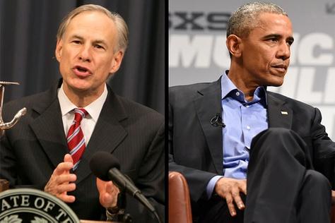 Texas Governor Greg Abbott and President Barack Obama.