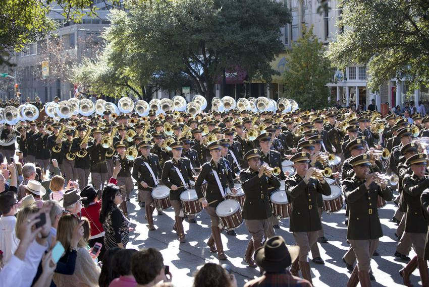 The ever-popular Texas A&M Aggie Band marches up Congress Avenue in the inaugural parade.