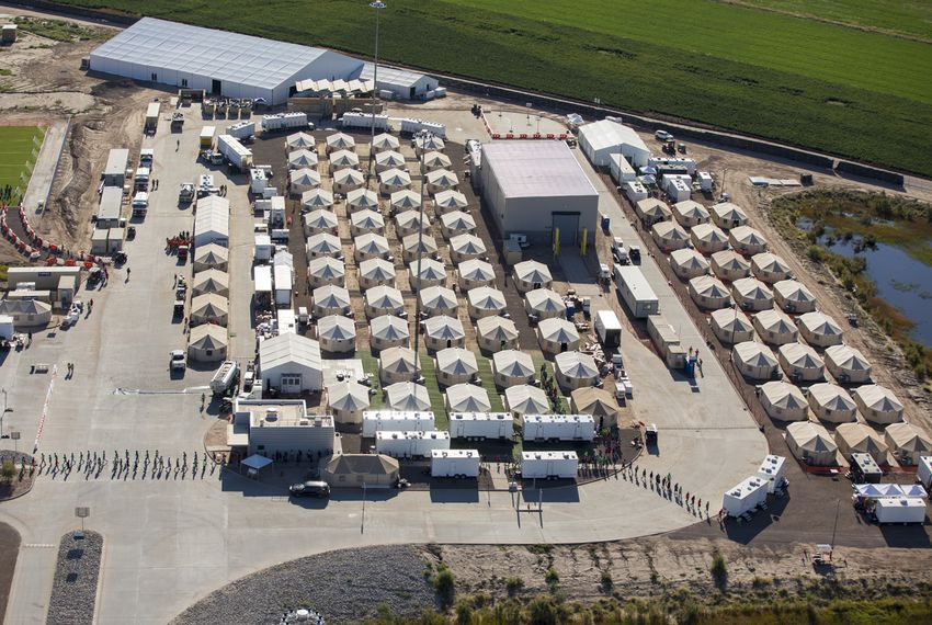 The tent city at the Marcelino Serna Port of Entry in Tornillo in September, when it held migrant youths. After closing the facility in January, the federal government plans to use it to house adult migrants starting this summer.