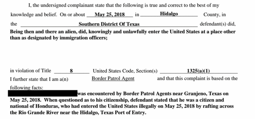 "Part of the criminal complaint filed against ""Carlos."" He pled guilty to illegally entering the U.S. on May 29, 2018."