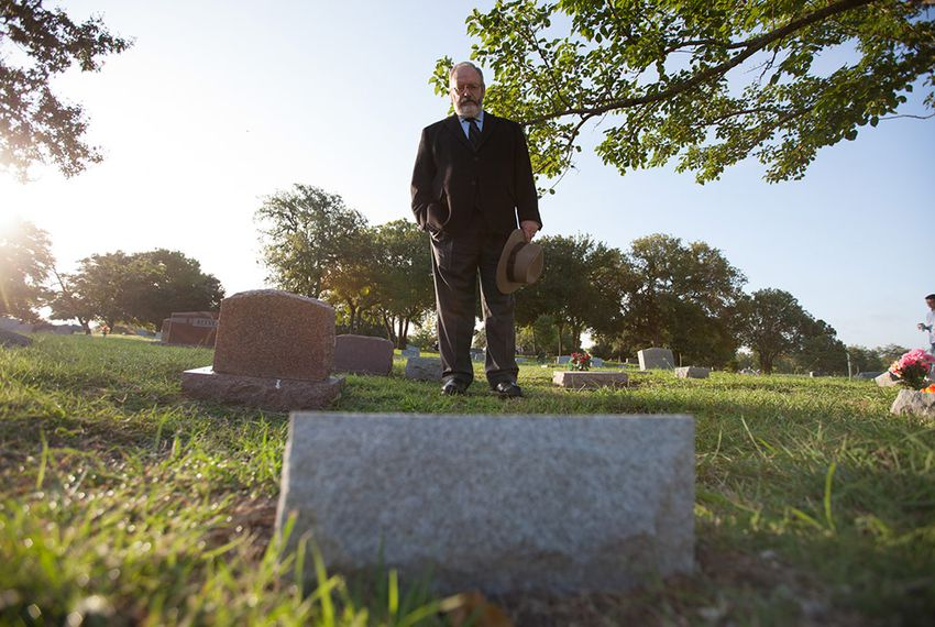 Gary Lavergne, author of Sniper in the Tower, at the site of the headstone he recently had installed in Austin Memorial Park, 7/28/2014.