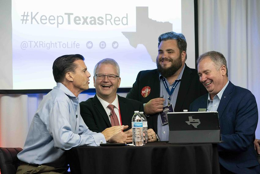 Left to right: Jim Graham of Texas Right To Life, James Dickey, RPT chairman, state Rep. Jonathan Stickland, R-Bedford, and …