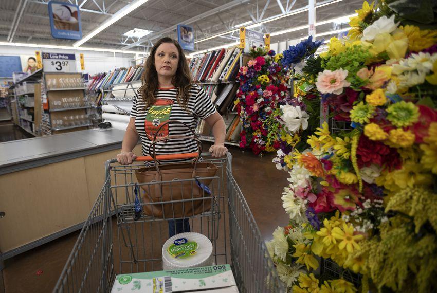 Rena Clegg, an art teacher at Pflugerville ISD, shops for classroom supplies.