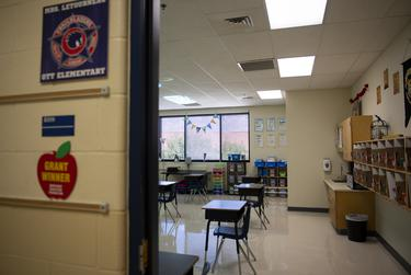 Desks are spaced out in a classroom at Ott Elementary School on Tuesday, Aug. 11, 2020 in San Antonio.