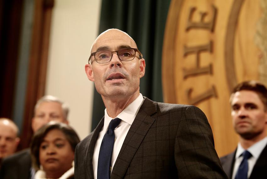 State Rep. Dennis Bonnen, R-Angleton, announces at a press conference on Nov. 12, 2018 that he has the support of 109 member…