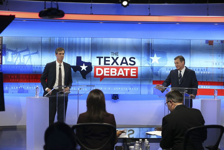 U.S. Rep. Beto O'Rourke, D-El Paso, left, faces U.S. Sen. Ted Cruz in debate at the KENS 5 Studios in San Antonio on Oct. 16, 2018.