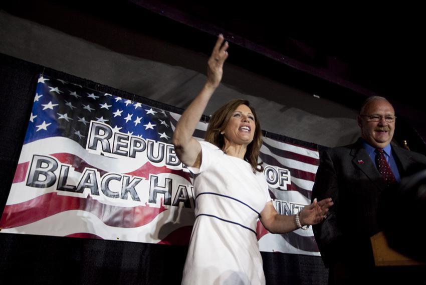 U.S. Rep. Michele Bachmann, R-Minn., at the Electric Park Ballroom in Waterloo, Iowa, on Aug. 14, 2011.