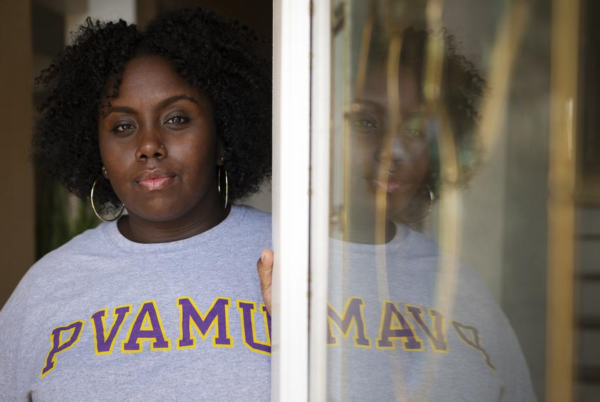 Prairie View A&M University graduate Jayla Allen, 22, at her family's home in Mesquite on Jan. 13, 2021. Allen is the lead p…