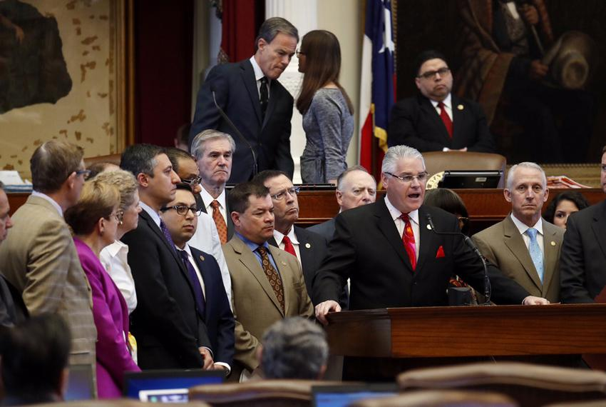 State Rep. Dan Huberty, R-Houston, chairman of the House Public Education Committee, speaks about his school finance bill on…