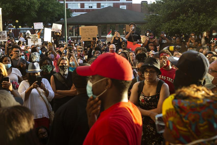 Protesters gather at the Solidarity Rally and March for George Floyd and Breonna Taylor in Dallas on May 29, 2019.