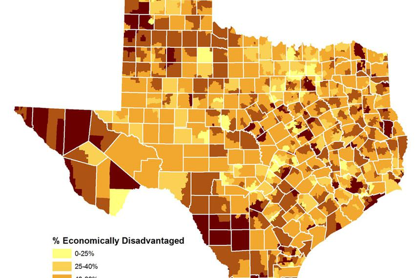 This map of Texas school districts visualizes the percentage of students rated by the state as economically disadvantaged.