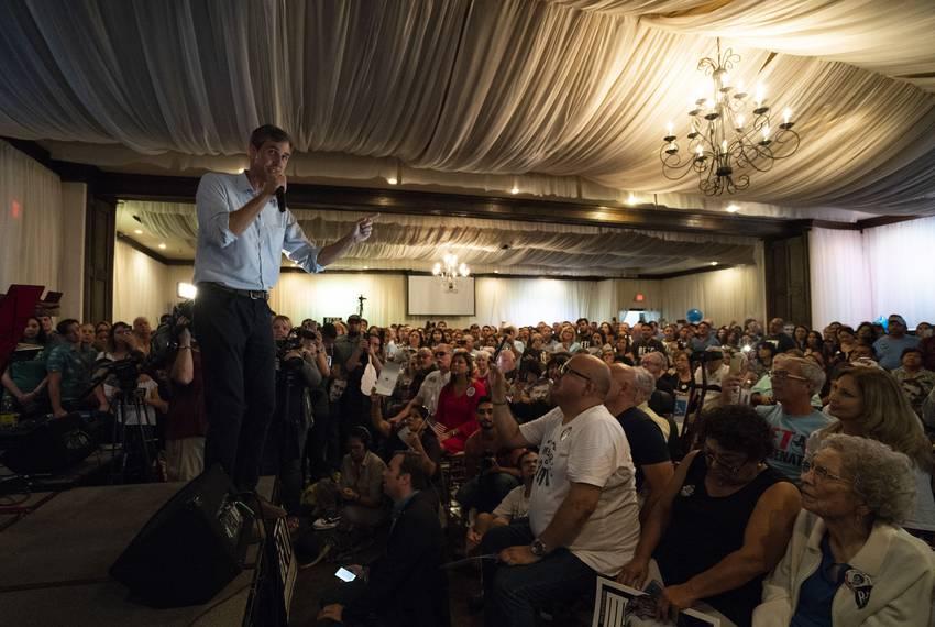 U.S. Rep. Beto O\u0027Rourke speaks at a campaign rally in Edinburg on Sept. 23, 2018.