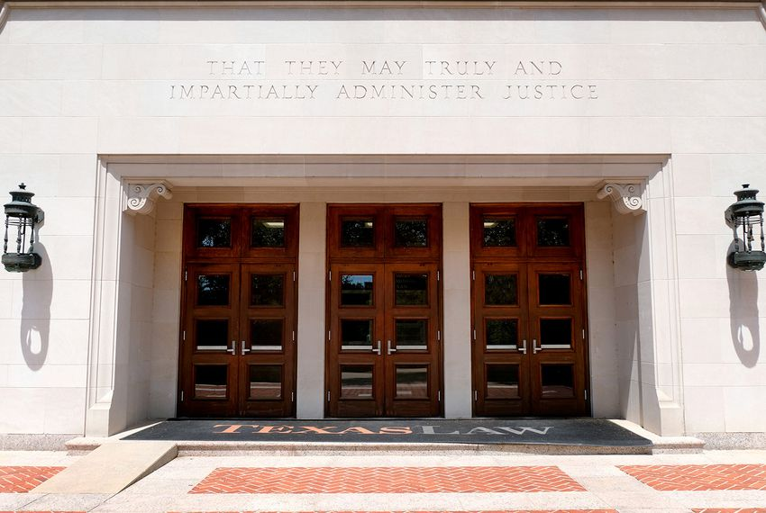 The University of Texas Law School building on Wednesday, April 11, 2018.