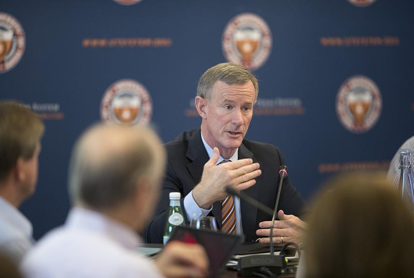 UT System Chancellor William McRaven makes a point during discussion at the July 13, 2017 retreat of the UT Board of Regen...