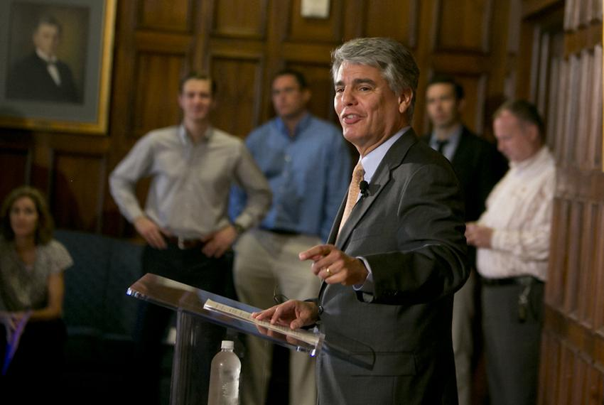 Gregory Fenves, the 29th president of the University of Texas at Austin during a press conference on June 2, 2015