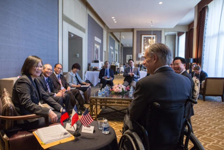 Gov. Greg Abbott meets with Taiwan President Tsai Ing-wen.