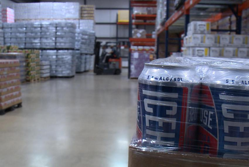 Beer stacked at a Keg 1 O'Neal beer distribution warehouse in Temple, Texas in April 2018.