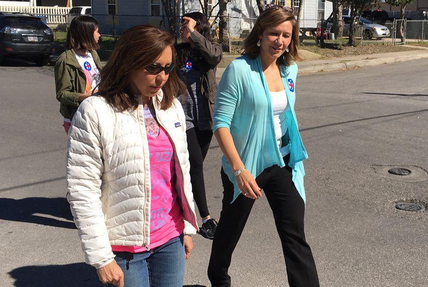 Hillary Clinton's national political director Amanda Renteria (right) canvasses neighborhoods in San Antonio on Feb. 8, 2016.