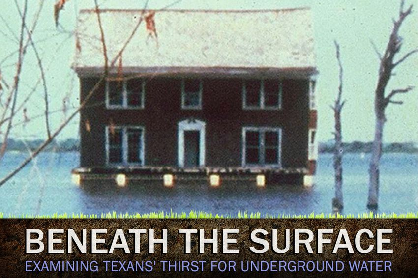 Subsidence puts a Galveston home in the water.