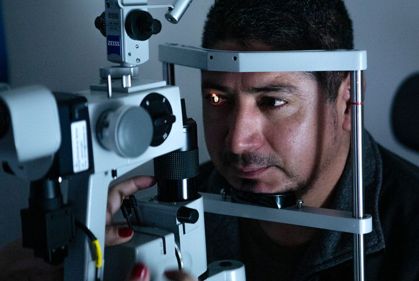 Eliecer Arce has his retina checked by Dr. Noor Abushagur in Fort Worth. He originally came in with severe swelling in his eyes, unable to see, and was diagnosed with an autoimmune condition.