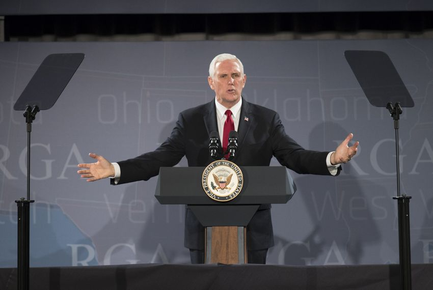 U.S. Vice President Mike Pence defends the record of the Trump administration during a 25-minute speech to the Republican Governor's Association annual conference in Austin on Nov. 15, 2017.