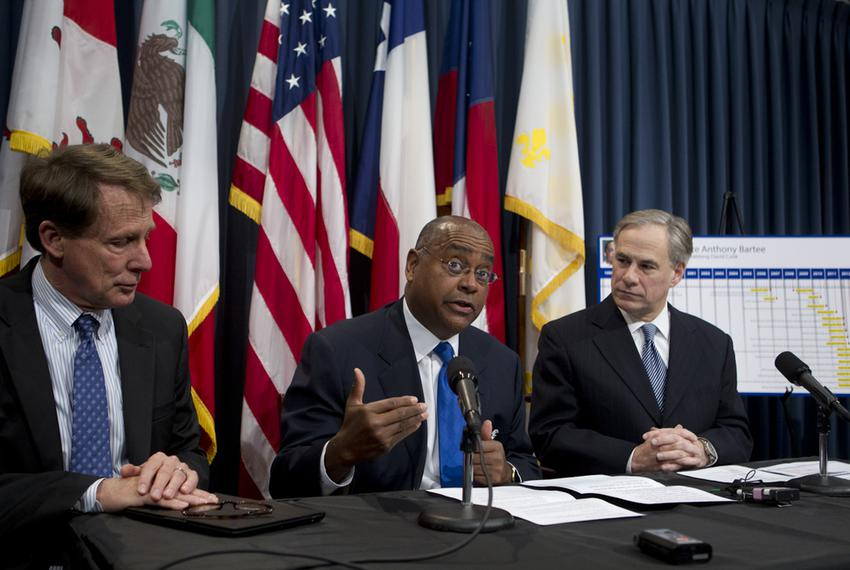 Sen. Rodney Ellis, D-Houston, c, discusses SB 1292 on pre-trial DNA testing March 19, 2013 with Sen. Robert Duncan, l, and A…