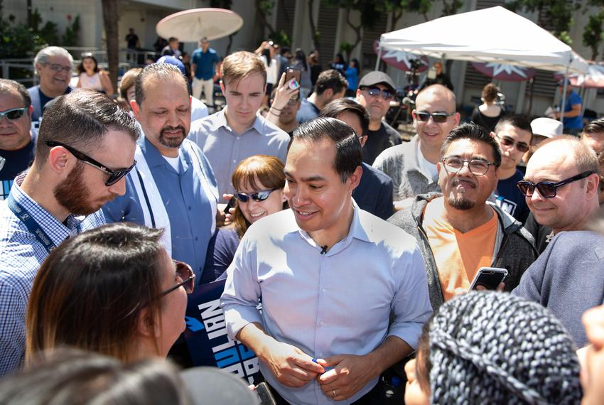 Presidential candidate Julián Castro greets supporters at a rally at James Garfield High School in East Los Angeles on April…