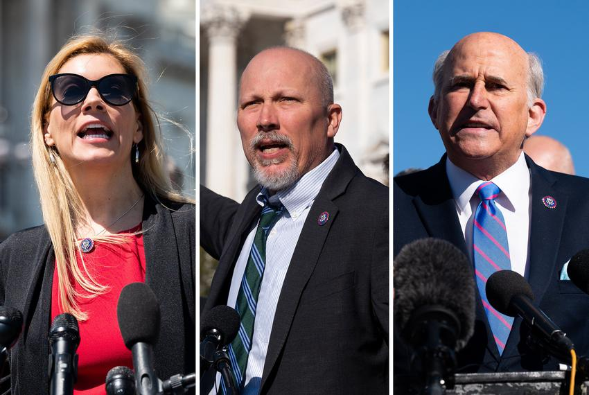 From left, U.S. Rep Beth Van Duyne, R-Texas, U.S. Rep. Chip Roy, R-Texas and U.S. Rep. Louie Gohmert, R-Texas.