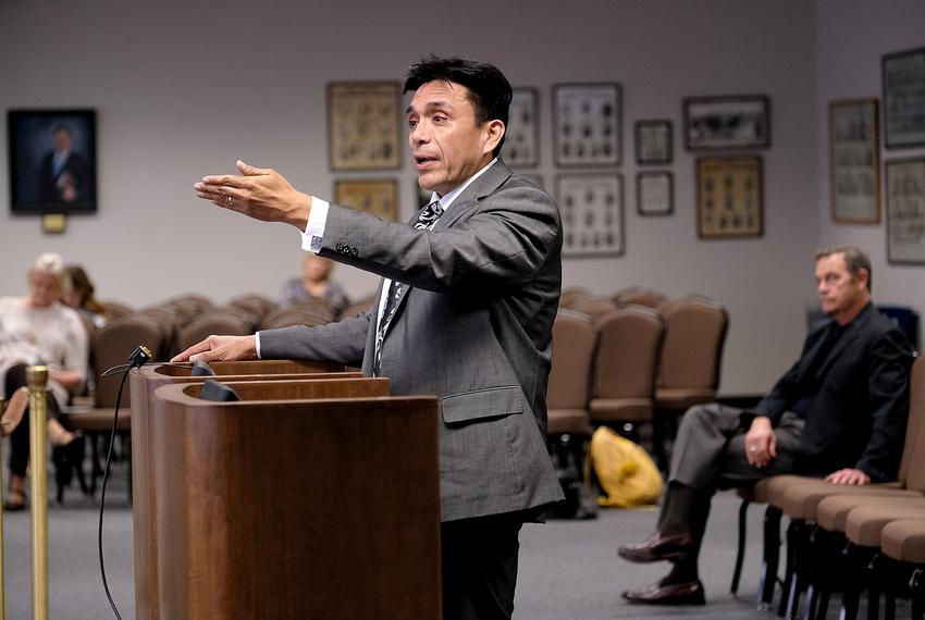 "Tony Diaz defends his book, ""The Mexican American Studies Toolkit,"" at a State Board of Education hearing on Nov. 7, 2017."