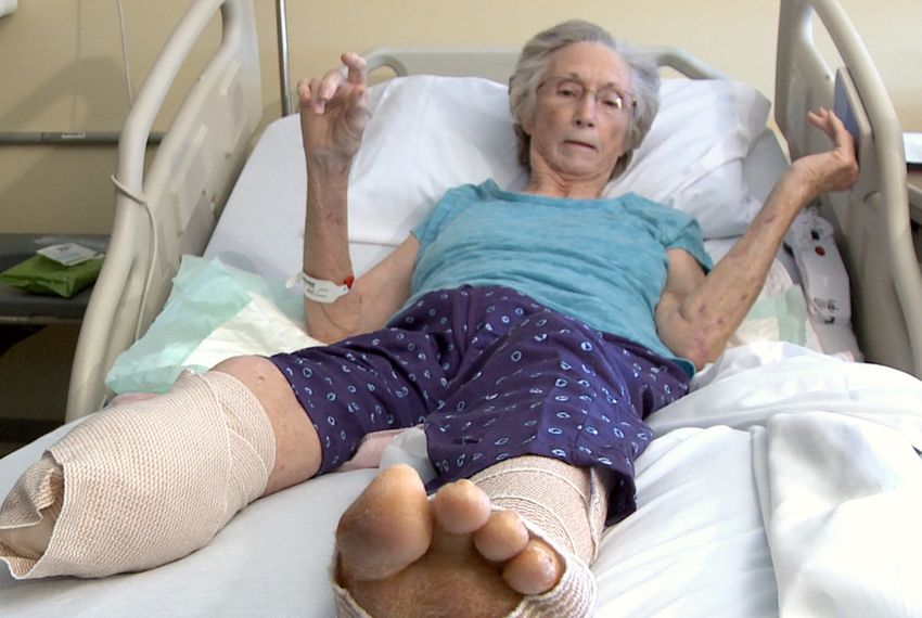 Jane Hays, 73, spent most of her career handling insurance claims and personnel issues. Now she's on the other side — fighting what she sees as a wrongful denial of her work injury claim. Hays had her lower right leg amputated on her way home from a work meeting.