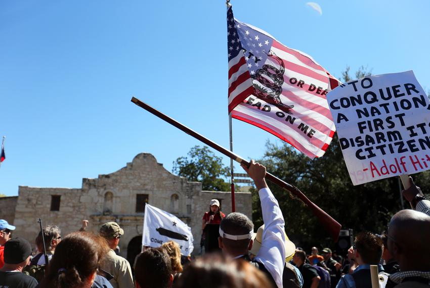 More than a thousand turned out at the Alamo on Saturday, Oct.19 for a protest over local, state and federal gun restricti...