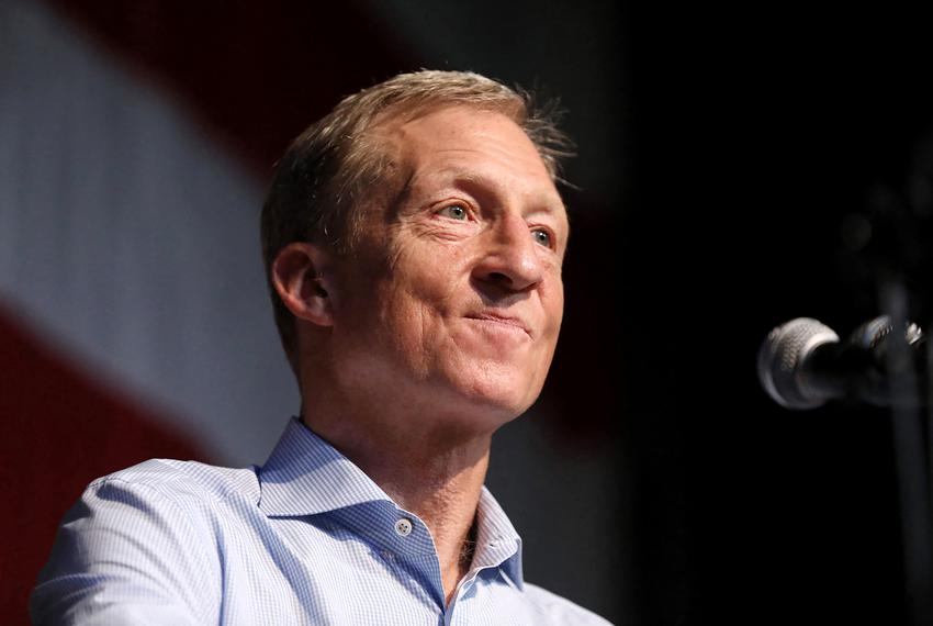 Democratic presidential candidate Tom Steyer speaks during a fundraising dinner in Clear Lake, Iowa in December of 2019.