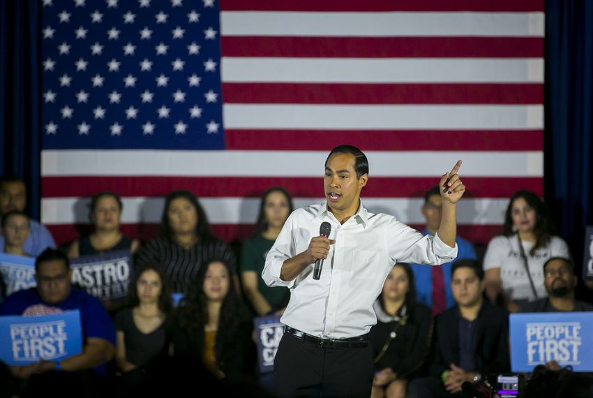 Presidential candidate Julián Castro speaks to the crowd during a rally at Warehouse Live on Monday, Sept. 9, 2019, in Houston.
