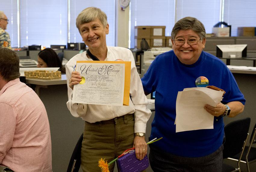 Jacque Roberts, left, and Carmelita Cabello, the second couple to receive a marriage license in Travis County on June 26, ...