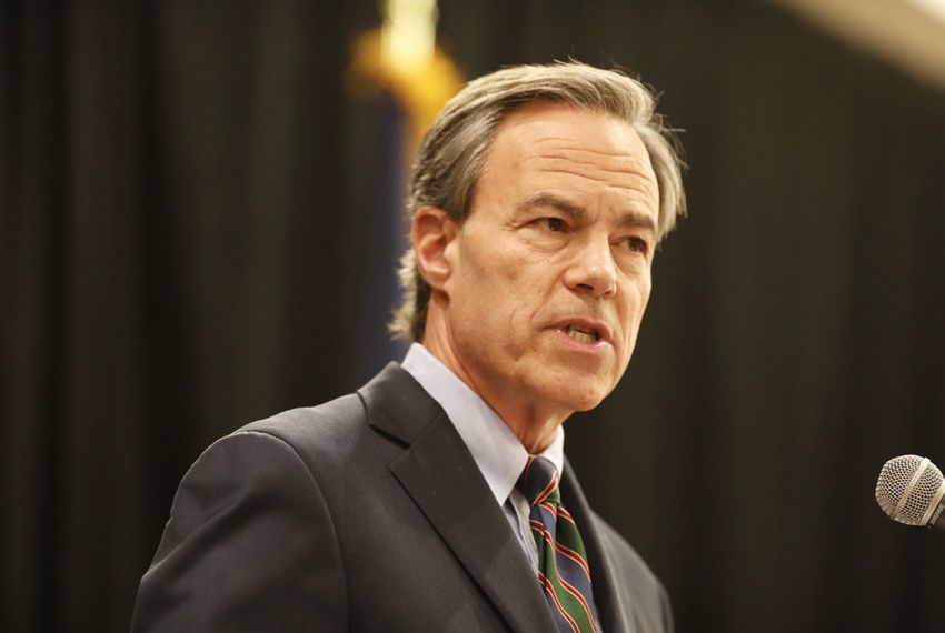 Texas House Speaker Joe Straus, R-San Antonio, gives a lunchtime speech to the Greater Austin Crime Commission on Wednesday, Dec. 13, 2017.