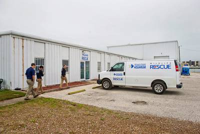 The Texas State Aquarium Wildlife Rescue current facility is located in a metal building two miles north of the aquarium's campus. It has been used by the aquarium for the last 30 years.