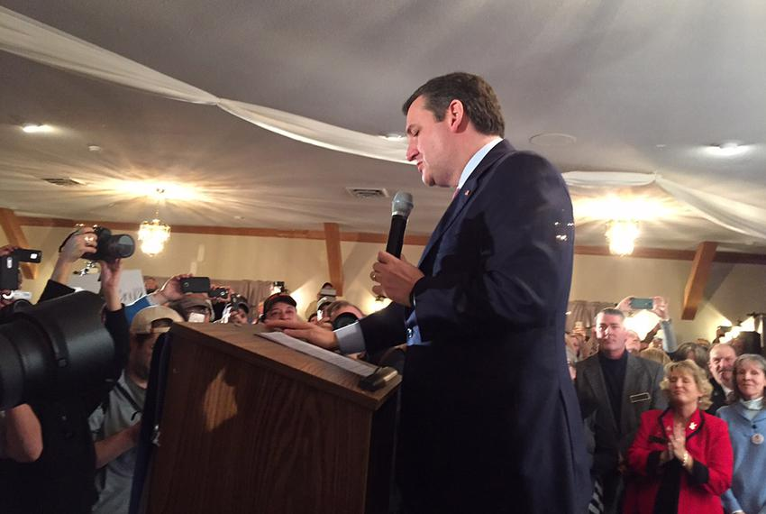 U.S. Sen. Ted Cruz speaks to supporters in Hollis, New Hampshire, after an apparent third-place showing in the state's Repub…