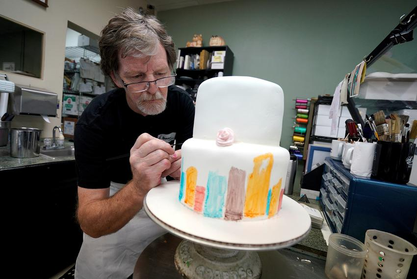 Jack Phillips decorates a cake in his Masterpiece Cakeshop in Lakewood, Colorado on September 21, 2017.