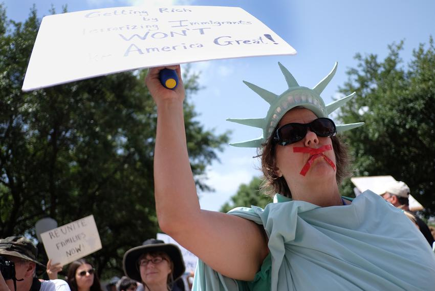 """Deborah Campbell joined thousands of people gathered at the Texas State Capitol for the """"Families Belong Together"""" rally on …"""