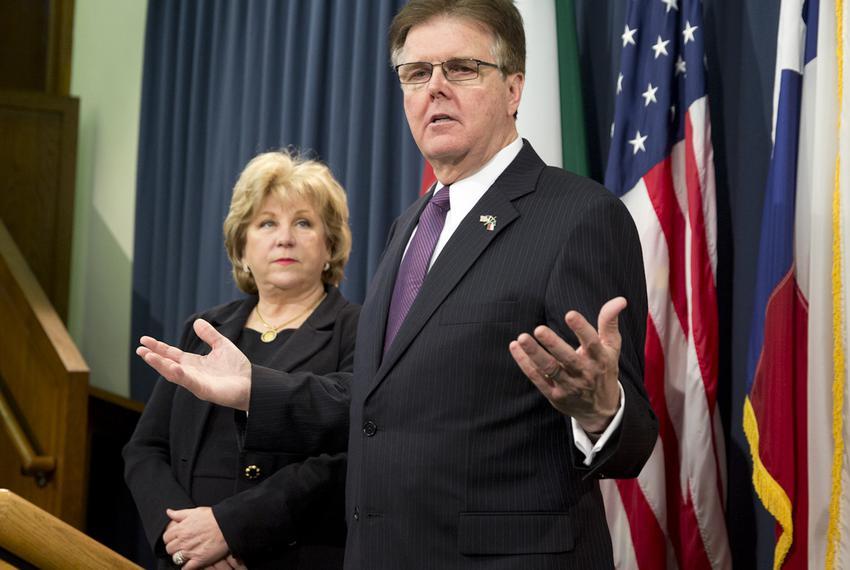 State Sen. Jane Nelson, R-Flower Mound, and Lt. Gov. Dan Patrick at a budget press conference on Jan. 27, 2015.